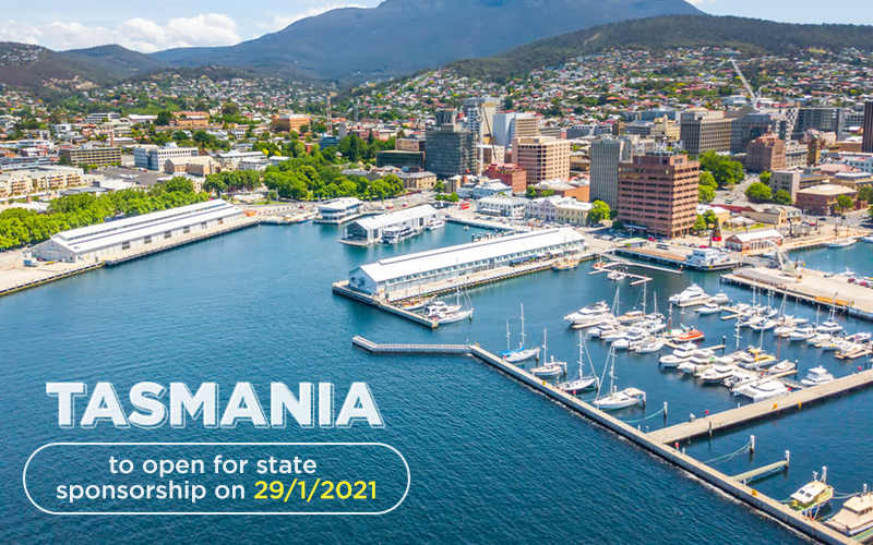 Tasmania to open for state sponsorship on 29/1/2021