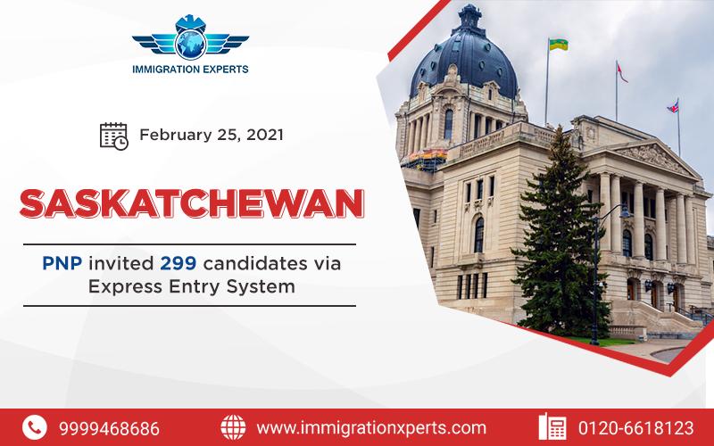 Saskatchewan PNP invited 299 candidates via Express Entry System