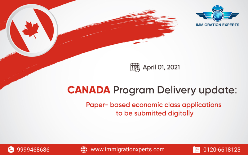 Canada Program Delivery update: Paper- based economic class applications to be submitted digitally